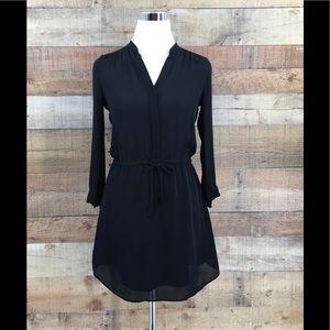 Babaton Women's Silk Black Button Flare Dress XXS